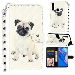 Pug Dog 3D Leather Phone Holster Wallet Case for Huawei Honor 10 Lite