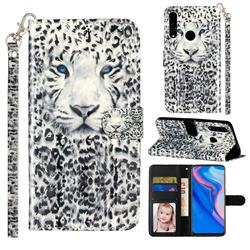 White Leopard 3D Leather Phone Holster Wallet Case for Huawei Honor 10 Lite