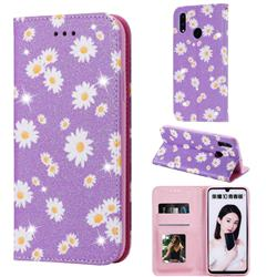 Ultra Slim Daisy Sparkle Glitter Powder Magnetic Leather Wallet Case for Huawei Honor 10 Lite - Purple
