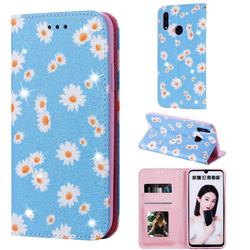 Ultra Slim Daisy Sparkle Glitter Powder Magnetic Leather Wallet Case for Huawei Honor 10 Lite - Blue