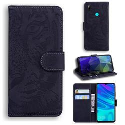 Intricate Embossing Tiger Face Leather Wallet Case for Huawei Honor 10 Lite - Black
