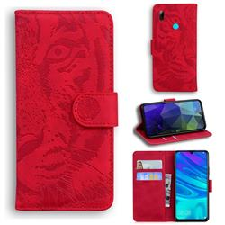 Intricate Embossing Tiger Face Leather Wallet Case for Huawei Honor 10 Lite - Red