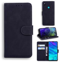 Retro Classic Skin Feel Leather Wallet Phone Case for Huawei Honor 10 Lite - Black