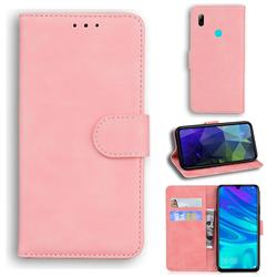 Retro Classic Skin Feel Leather Wallet Phone Case for Huawei Honor 10 Lite - Pink
