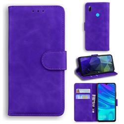 Retro Classic Skin Feel Leather Wallet Phone Case for Huawei Honor 10 Lite - Purple