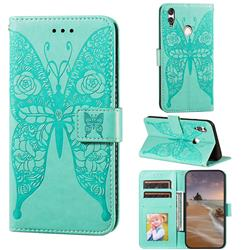 Intricate Embossing Rose Flower Butterfly Leather Wallet Case for Huawei Honor 10 Lite - Green