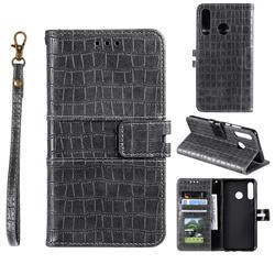 Luxury Crocodile Magnetic Leather Wallet Phone Case for Huawei Honor 10 Lite - Gray