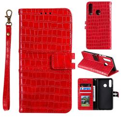 Luxury Crocodile Magnetic Leather Wallet Phone Case for Huawei Honor 10 Lite - Red