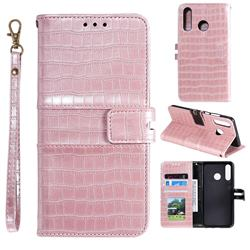 Luxury Crocodile Magnetic Leather Wallet Phone Case for Huawei Honor 10 Lite - Rose Gold