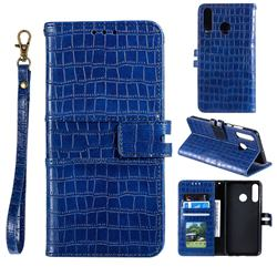 Luxury Crocodile Magnetic Leather Wallet Phone Case for Huawei Honor 10 Lite - Blue