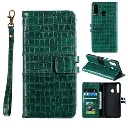 Luxury Crocodile Magnetic Leather Wallet Phone Case for Huawei Honor 10 Lite - Green