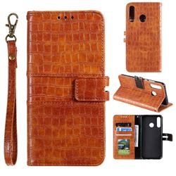 Luxury Crocodile Magnetic Leather Wallet Phone Case for Huawei Honor 10 Lite - Brown