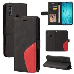 Luxury Two-color Stitching Leather Wallet Case Cover for Huawei Honor 10 Lite - Black