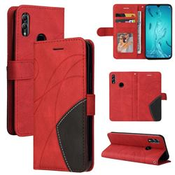 Luxury Two-color Stitching Leather Wallet Case Cover for Huawei Honor 10 Lite - Red