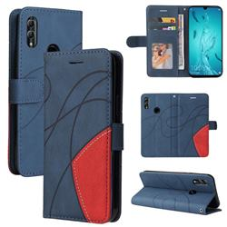 Luxury Two-color Stitching Leather Wallet Case Cover for Huawei Honor 10 Lite - Blue