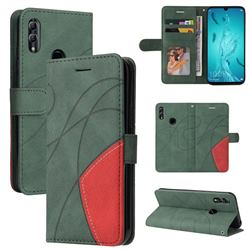 Luxury Two-color Stitching Leather Wallet Case Cover for Huawei Honor 10 Lite - Green