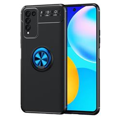 Auto Focus Invisible Ring Holder Soft Phone Case for Huawei Honor 10X Lite - Black Blue