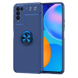Auto Focus Invisible Ring Holder Soft Phone Case for Huawei Honor 10X Lite - Blue