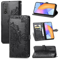 Embossing Imprint Mandala Flower Leather Wallet Case for Huawei Honor 10X Lite - Black