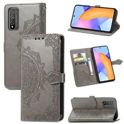 Embossing Imprint Mandala Flower Leather Wallet Case for Huawei Honor 10X Lite - Gray