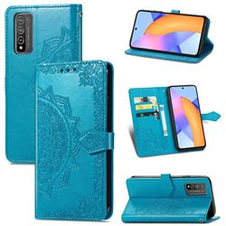 Embossing Imprint Mandala Flower Leather Wallet Case for Huawei Honor 10X Lite - Blue