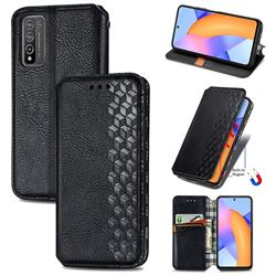 Ultra Slim Fashion Business Card Magnetic Automatic Suction Leather Flip Cover for Huawei Honor 10X Lite - Black