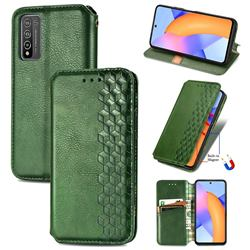 Ultra Slim Fashion Business Card Magnetic Automatic Suction Leather Flip Cover for Huawei Honor 10X Lite - Green