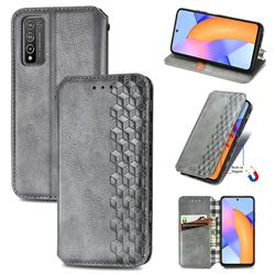 Ultra Slim Fashion Business Card Magnetic Automatic Suction Leather Flip Cover for Huawei Honor 10X Lite - Grey
