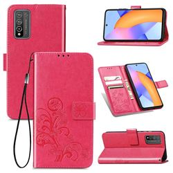Embossing Imprint Four-Leaf Clover Leather Wallet Case for Huawei Honor 10X Lite - Rose Red
