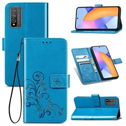 Embossing Imprint Four-Leaf Clover Leather Wallet Case for Huawei Honor 10X Lite - Blue