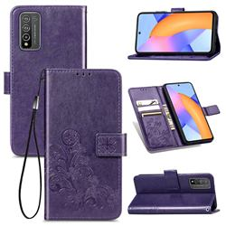 Embossing Imprint Four-Leaf Clover Leather Wallet Case for Huawei Honor 10X Lite - Purple