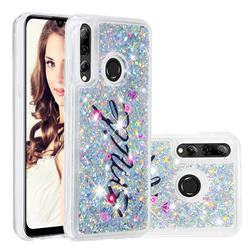 Smile Flower Dynamic Liquid Glitter Quicksand Soft TPU Case for Huawei Honor 10i