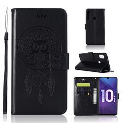 Intricate Embossing Owl Campanula Leather Wallet Case for Huawei Honor 10i - Black