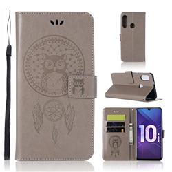 Intricate Embossing Owl Campanula Leather Wallet Case for Huawei Honor 10i - Grey