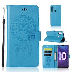 Intricate Embossing Owl Campanula Leather Wallet Case for Huawei Honor 10i - Blue