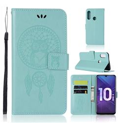Intricate Embossing Owl Campanula Leather Wallet Case for Huawei Honor 10i - Green