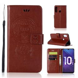 Intricate Embossing Owl Campanula Leather Wallet Case for Huawei Honor 10i - Brown