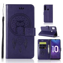Intricate Embossing Owl Campanula Leather Wallet Case for Huawei Honor 10i - Purple