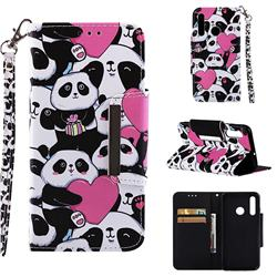 Heart Panda Big Metal Buckle PU Leather Wallet Phone Case for Huawei Honor 10i