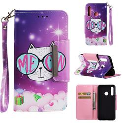 Glasses Cat Big Metal Buckle PU Leather Wallet Phone Case for Huawei Honor 10i