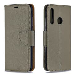 Classic Luxury Litchi Leather Phone Wallet Case for Huawei Honor 10i - Gray
