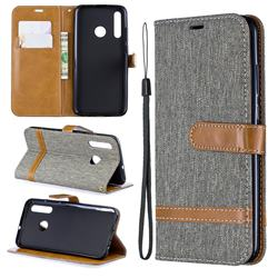 Jeans Cowboy Denim Leather Wallet Case for Huawei Honor 10i - Gray