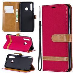 Jeans Cowboy Denim Leather Wallet Case for Huawei Honor 10i - Red