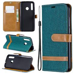 Jeans Cowboy Denim Leather Wallet Case for Huawei Honor 10i - Green