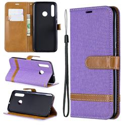 Jeans Cowboy Denim Leather Wallet Case for Huawei Honor 10i - Purple