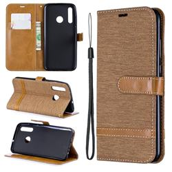 Jeans Cowboy Denim Leather Wallet Case for Huawei Honor 10i - Brown