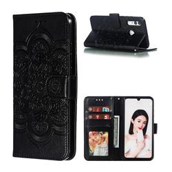 Intricate Embossing Datura Solar Leather Wallet Case for Huawei Honor 10i - Black