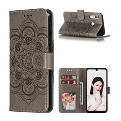 Intricate Embossing Datura Solar Leather Wallet Case for Huawei Honor 10i - Gray