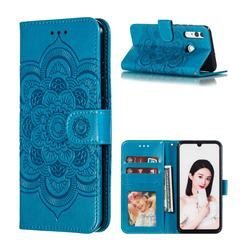 Intricate Embossing Datura Solar Leather Wallet Case for Huawei Honor 10i - Blue