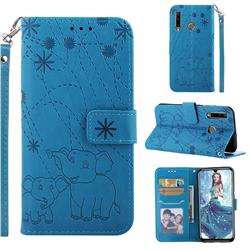 Embossing Fireworks Elephant Leather Wallet Case for Huawei Honor 10i - Blue